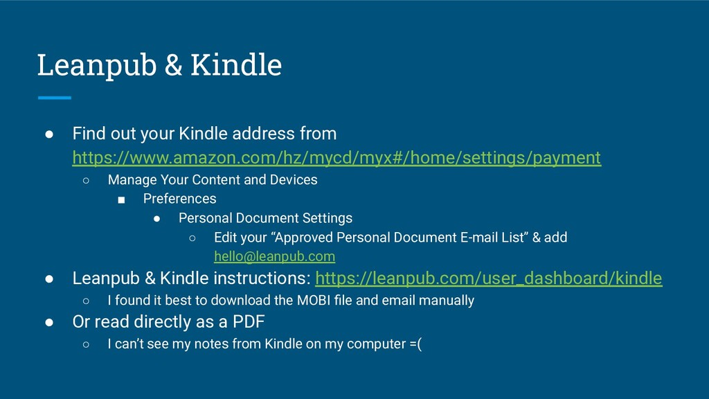 Leanpub & Kindle ● Find out your Kindle address...