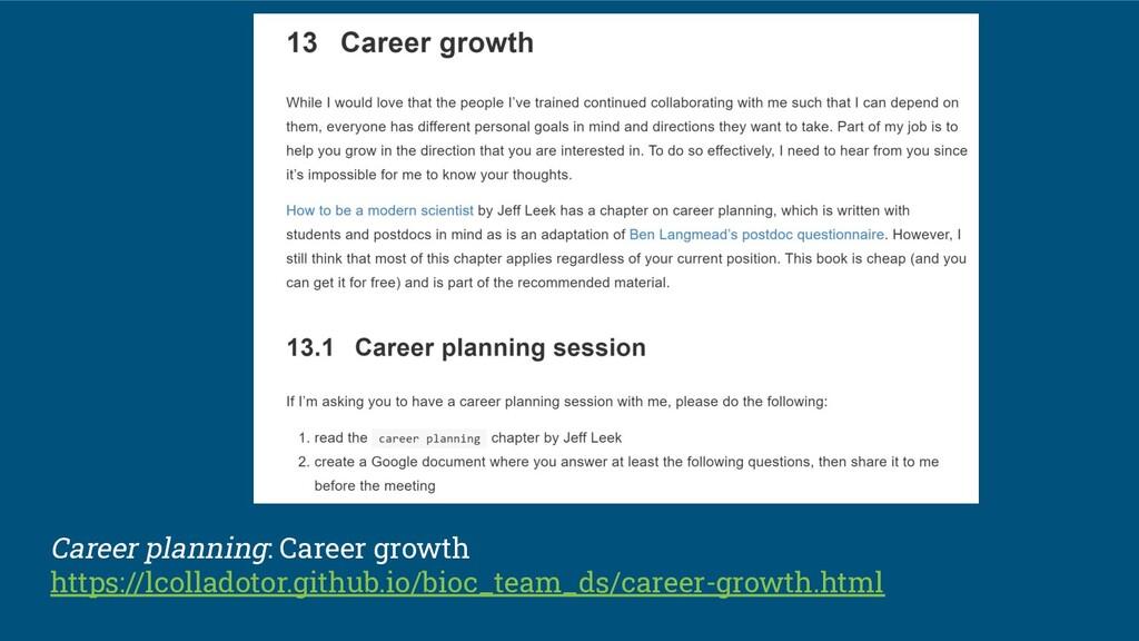 Career planning: Career growth https://lcollado...