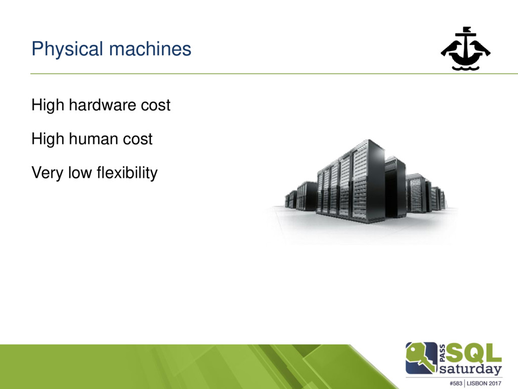 Physical machines High hardware cost High human...