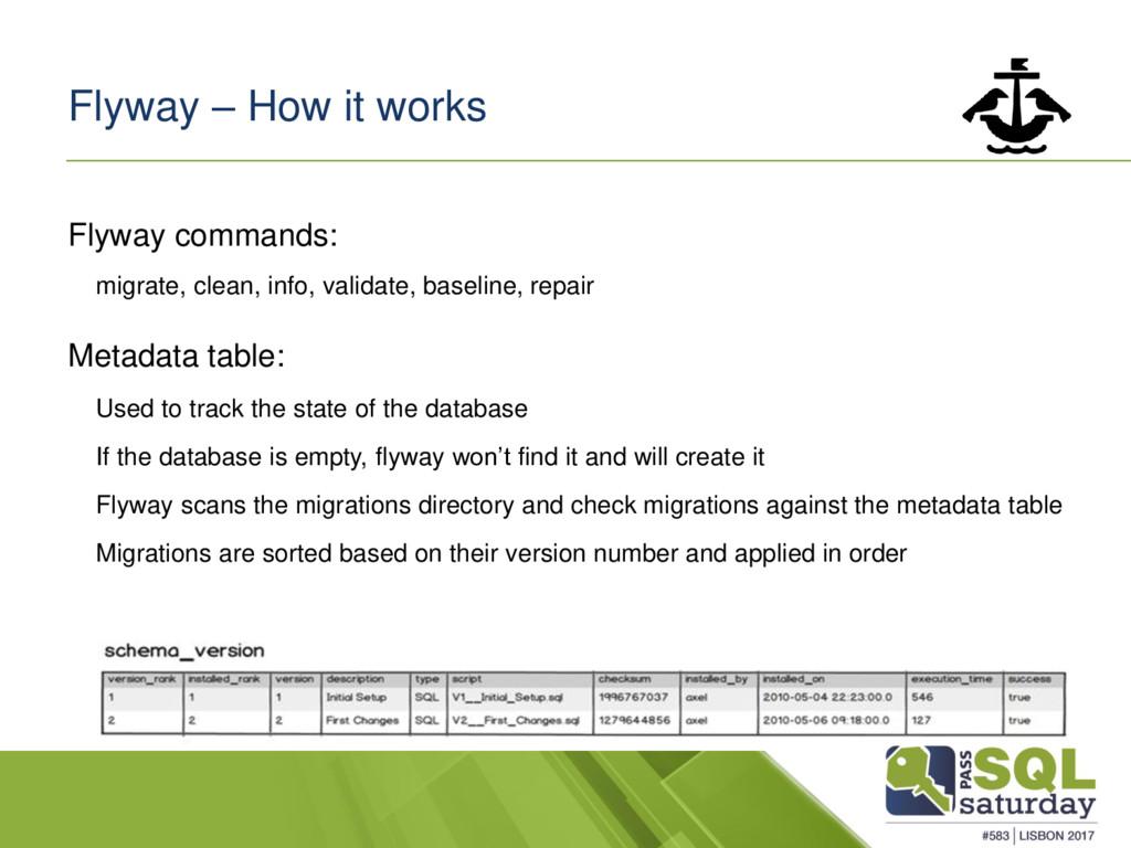 Flyway – How it works Flyway commands: migrate,...