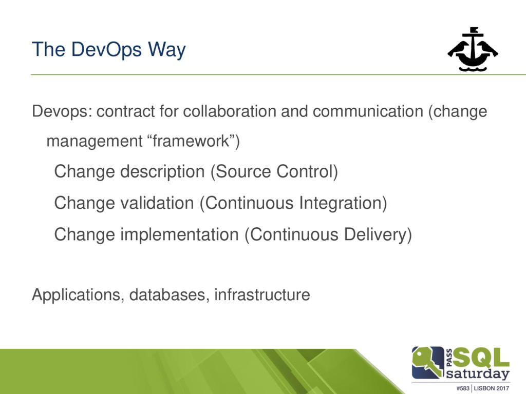 The DevOps Way Devops: contract for collaborati...