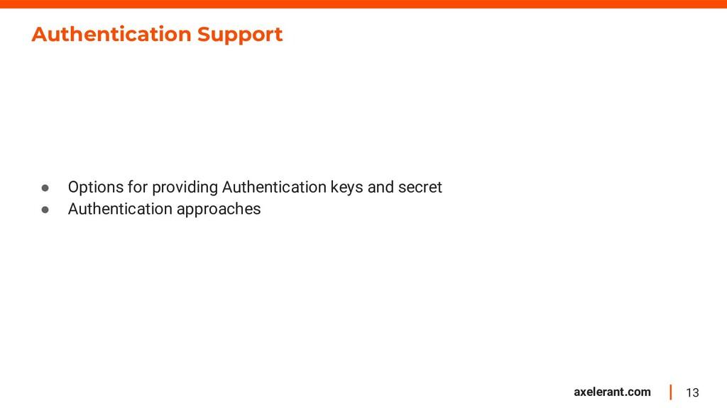 13 axelerant.com Authentication Support ● Optio...