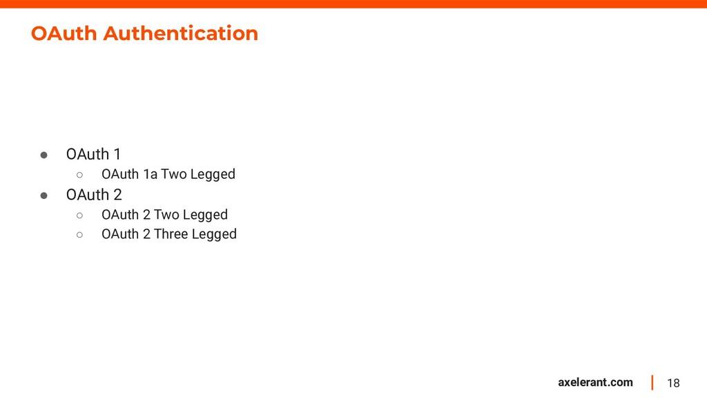 18 axelerant.com OAuth Authentication ● OAuth 1...