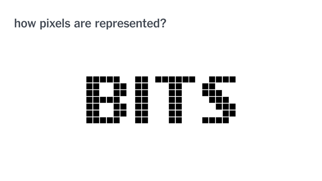 how pixels are represented? BITS