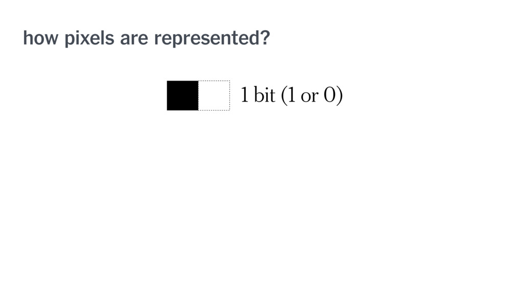 how pixels are represented? 1 bit (1 or 0)