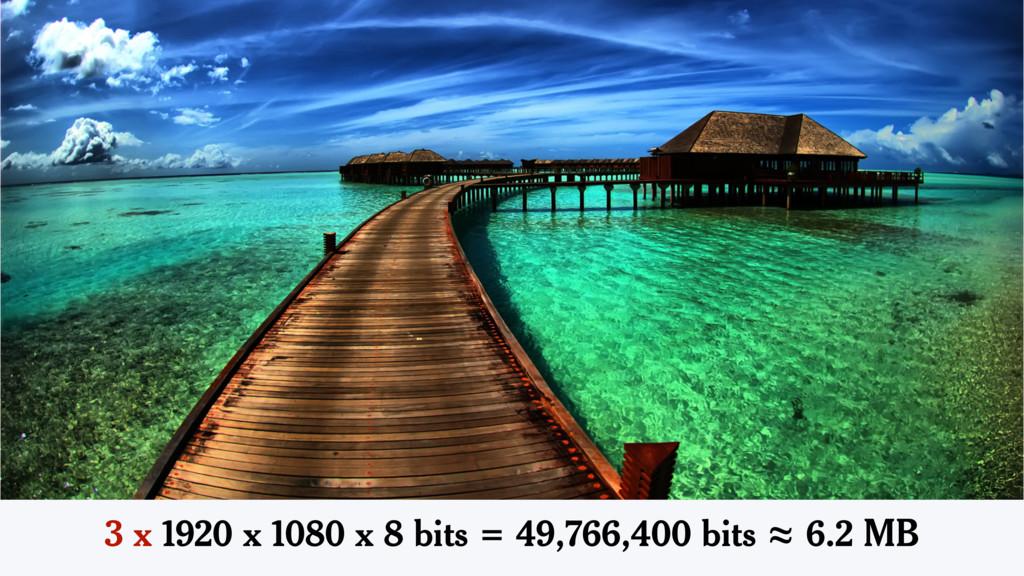 3 x 1920 x 1080 x 8 bits = 49,766,400 bits ≈ 6....