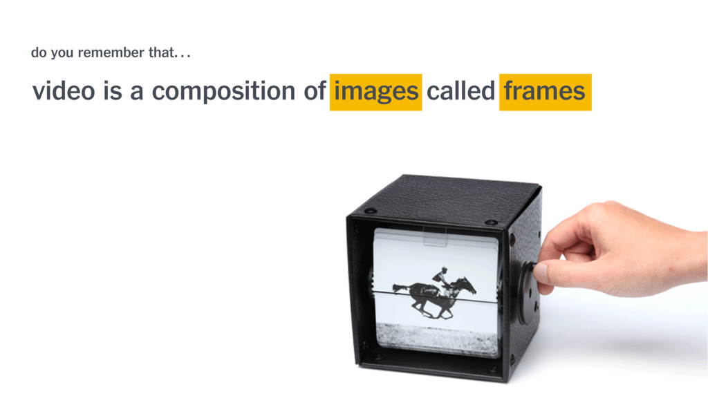 video is a composition of images called frames ...