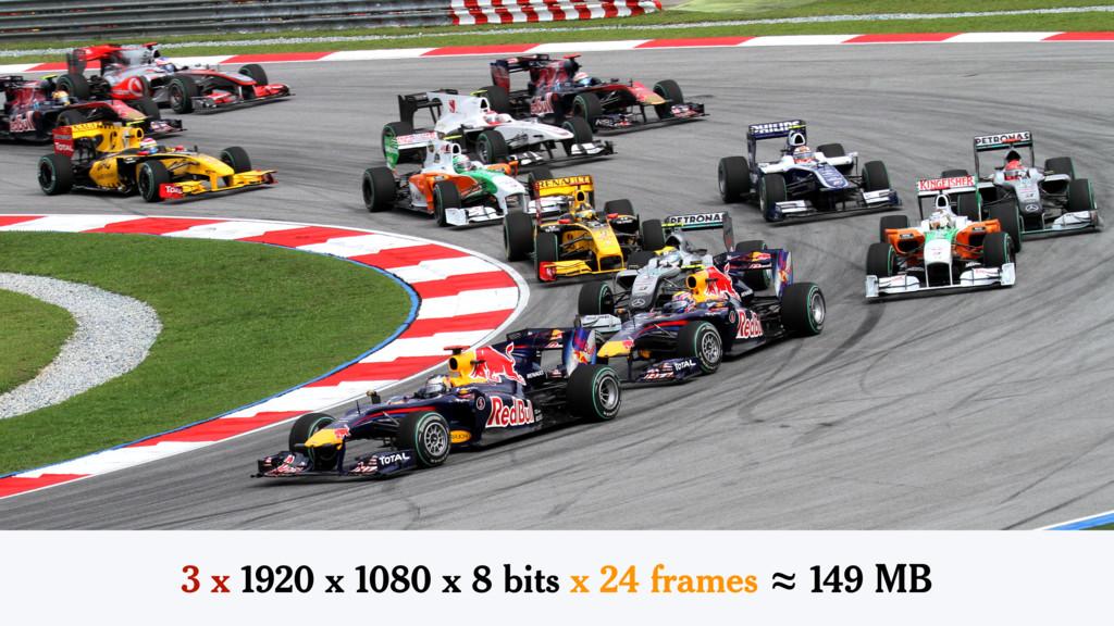 3 x 1920 x 1080 x 8 bits x 24 frames ≈ 149 MB