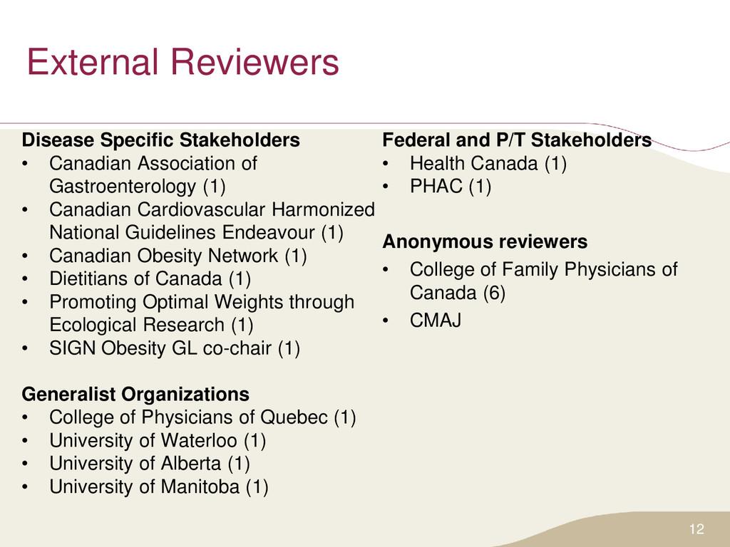 External Reviewers Disease Specific Stakeholder...