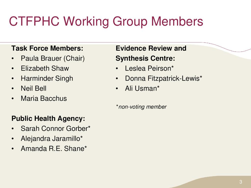 CTFPHC Working Group Members Task Force Members...