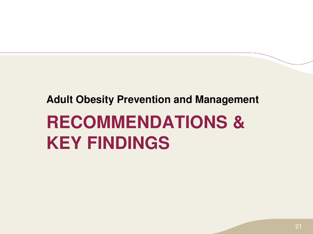 RECOMMENDATIONS & KEY FINDINGS Adult Obesity Pr...