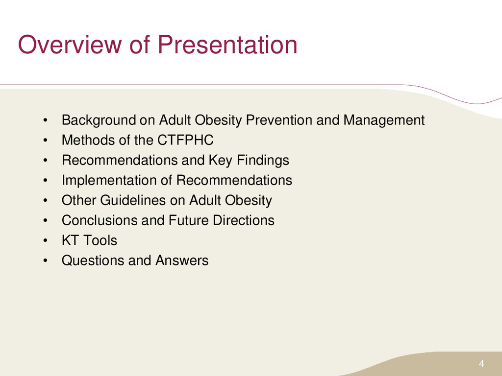 Overview of Presentation • Background on Adult ...