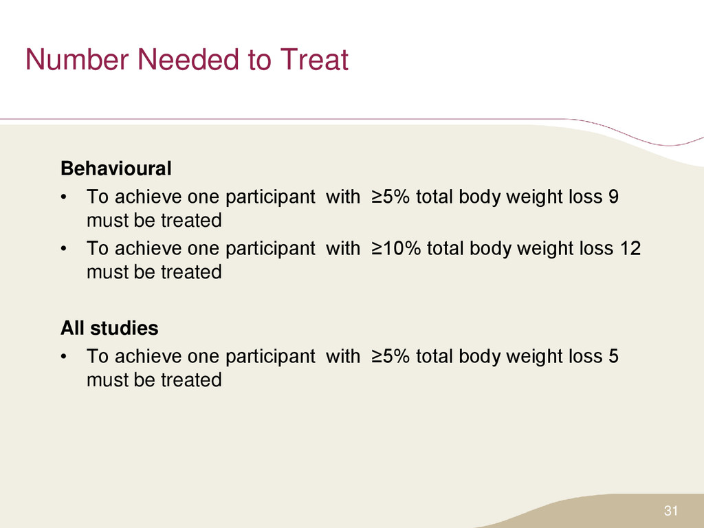 Number Needed to Treat Behavioural • To achieve...