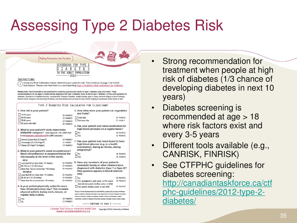 Assessing Type 2 Diabetes Risk • Strong recomme...