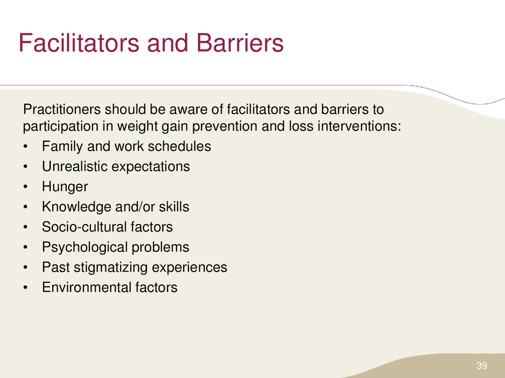 Facilitators and Barriers Practitioners should ...