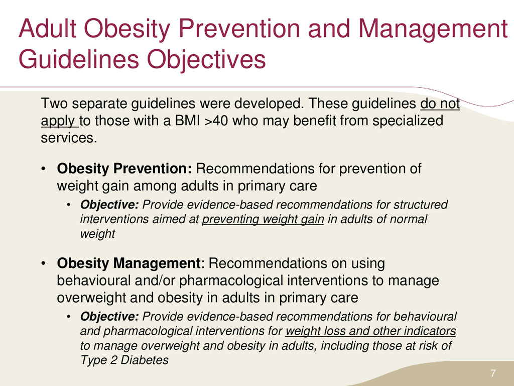 Adult Obesity Prevention and Management Guideli...