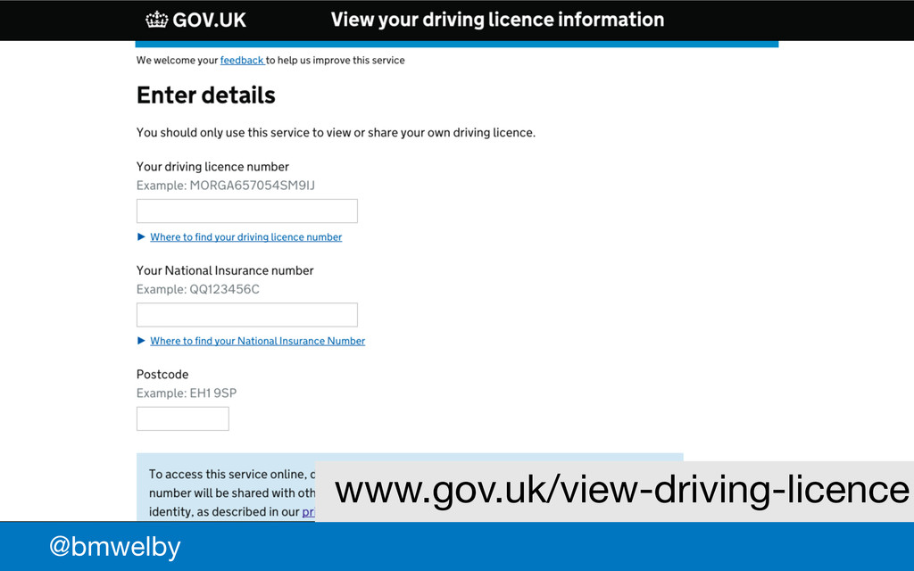 GDS @bmwelby www.gov.uk/view-driving-licence