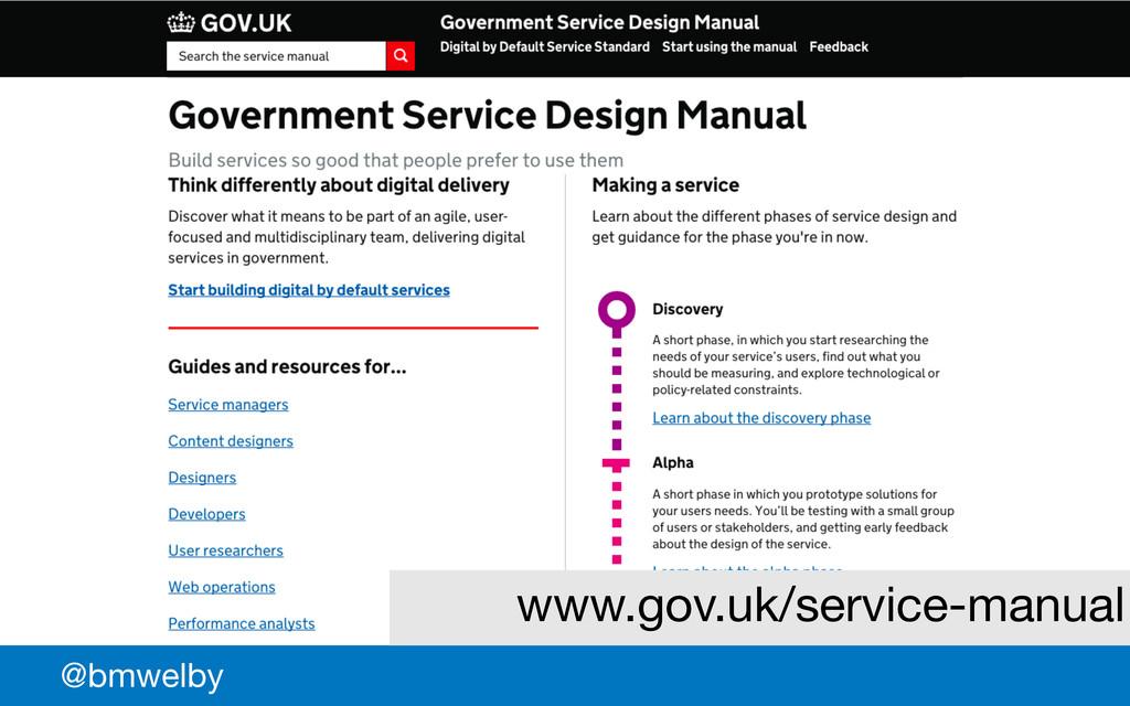 GDS @bmwelby www.gov.uk/service-manual