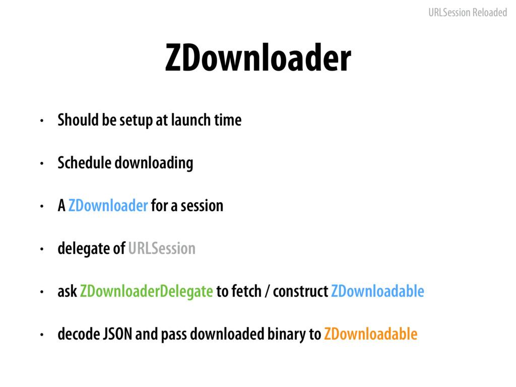 URLSession Reloaded ZDownloader • Should be set...