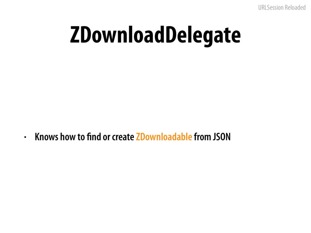 URLSession Reloaded ZDownloadDelegate • Knows h...