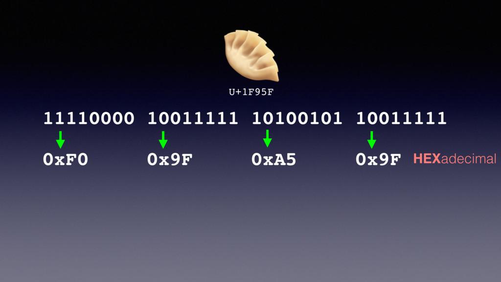U+1F95F 0xF0 0x9F 0xA5 0x9F 11110000 10011111 ...