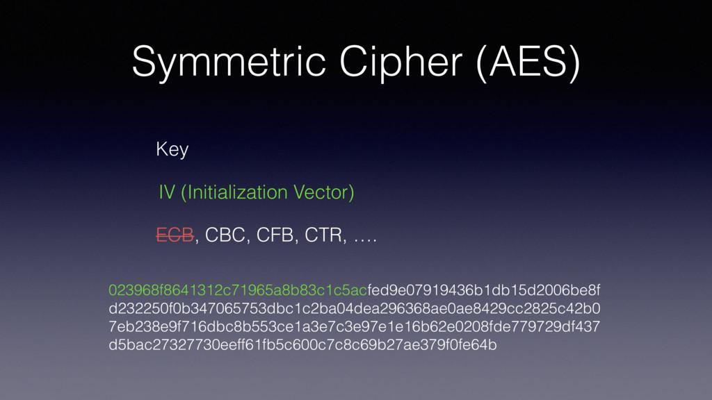 Symmetric Cipher (AES) 023968f8641312c71965a8b8...