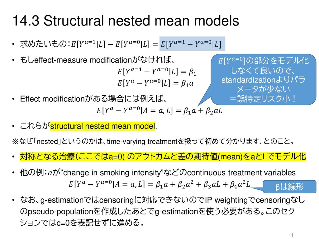 14.3 Structural nested mean models • 求めたいもの: =1...