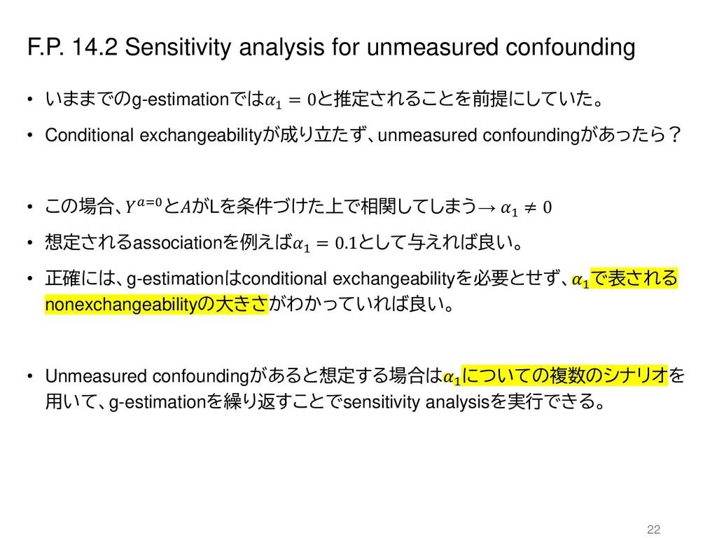F.P. 14.2 Sensitivity analysis for unmeasured c...