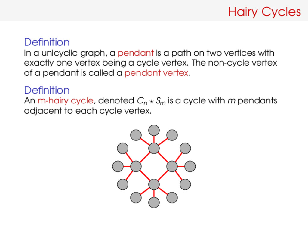 Hairy Cycles Definition In a unicyclic graph, a ...