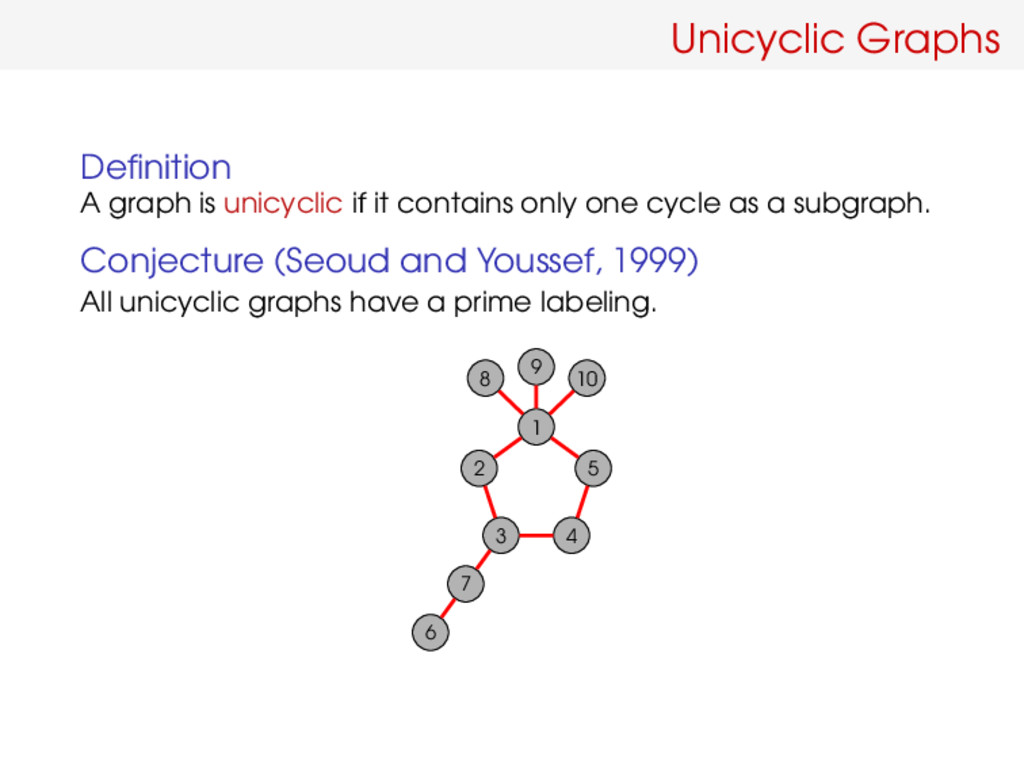 Unicyclic Graphs Definition A graph is unicyclic...