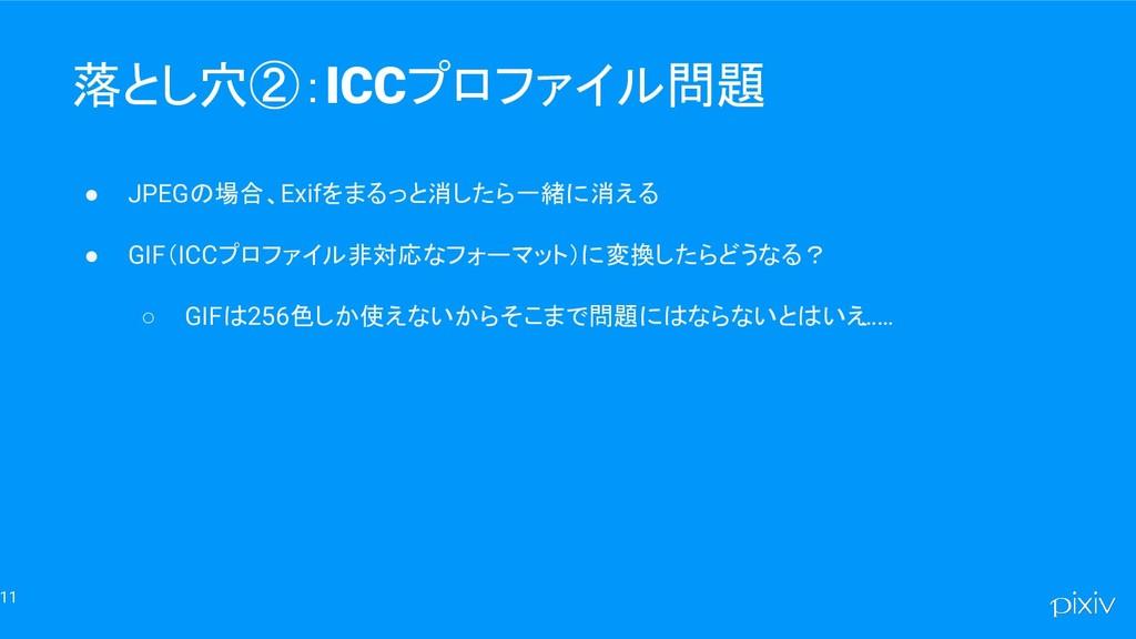 11 落とし穴②:ICCプロファイル問題 ● JPEGの場合、Exifをまるっと消したら一緒に...