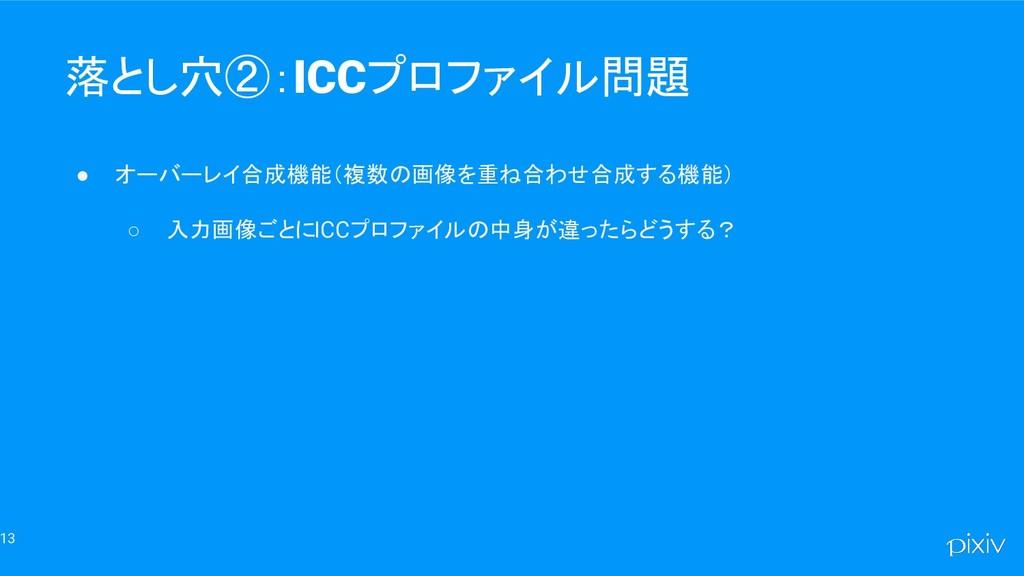 13 落とし穴②:ICCプロファイル問題 ● オーバーレイ合成機能(複数の画像を重ね合わせ合成...