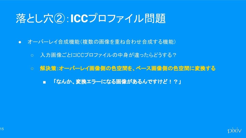 15 落とし穴②:ICCプロファイル問題 ● オーバーレイ合成機能(複数の画像を重ね合わせ合成...