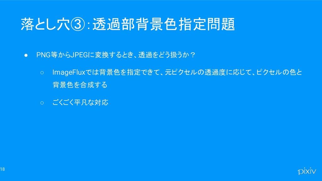 18 落とし穴③:透過部背景色指定問題 ● PNG等からJPEGに変換するとき、透過をどう扱う...