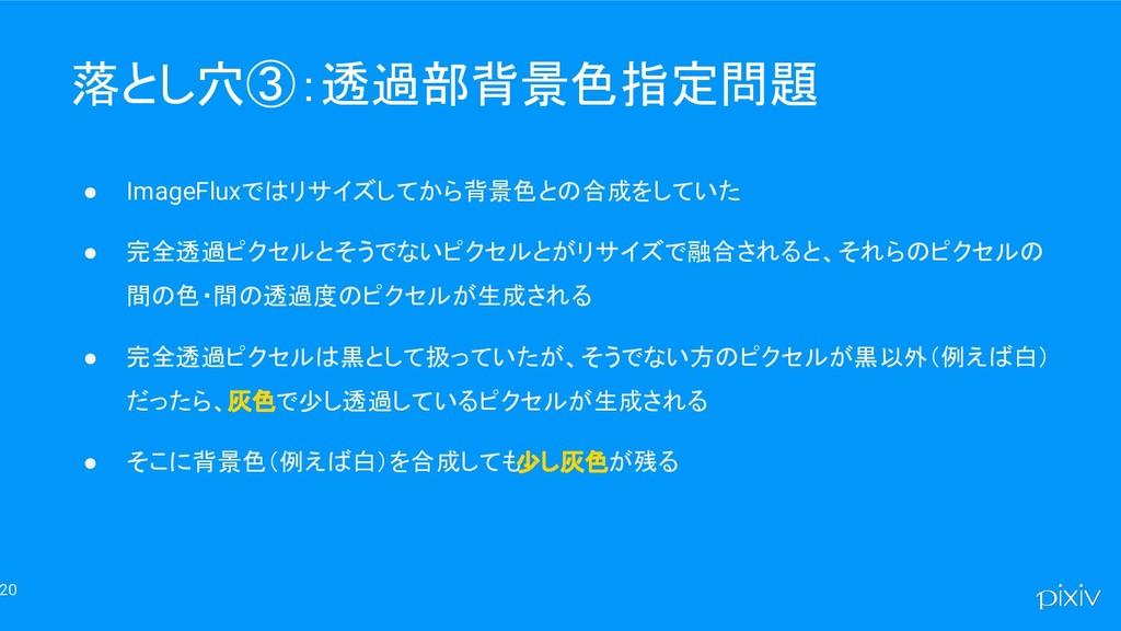 20 落とし穴③:透過部背景色指定問題 ● ImageFluxではリサイズしてから背景色との合...