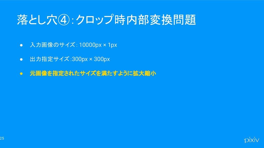 25 落とし穴④:クロップ時内部変換問題 ● 入力画像のサイズ: 10000px × 1px ...