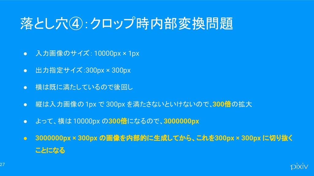 27 落とし穴④:クロップ時内部変換問題 ● 入力画像のサイズ: 10000px × 1px ...