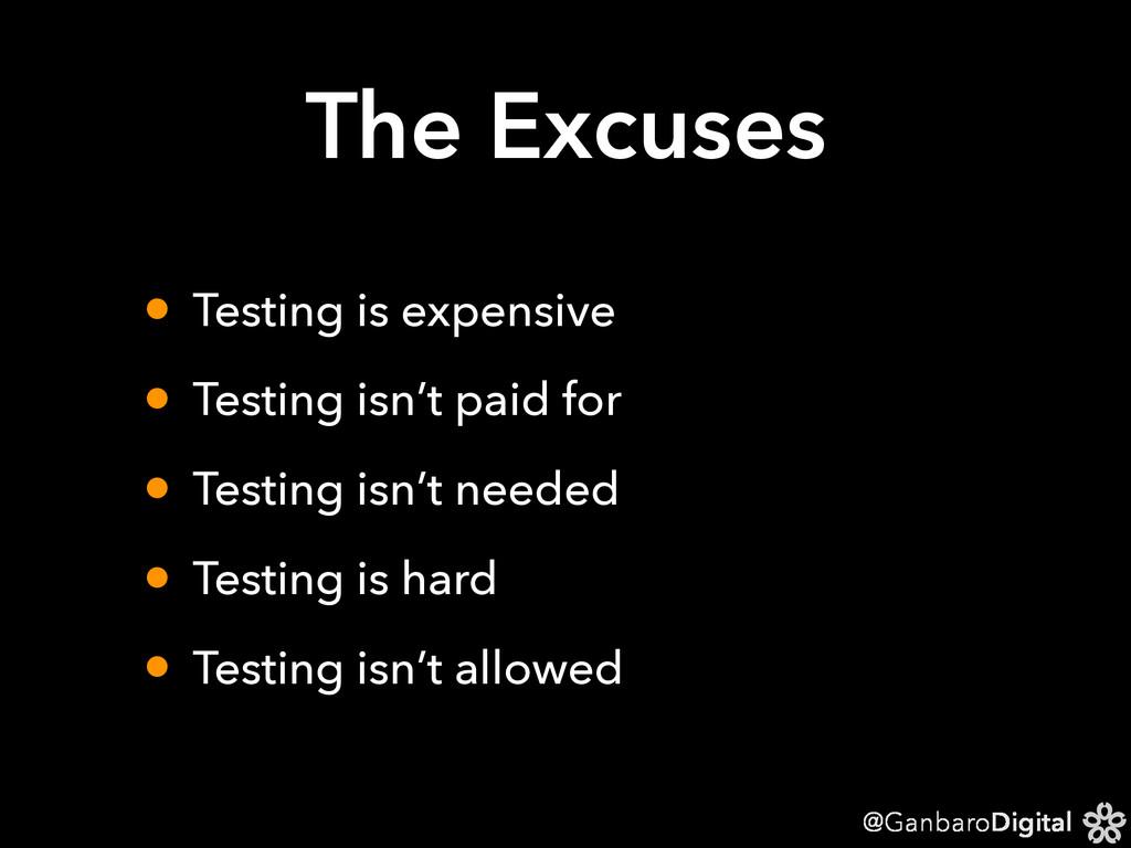 @GanbaroDigital The Excuses • Testing is expens...