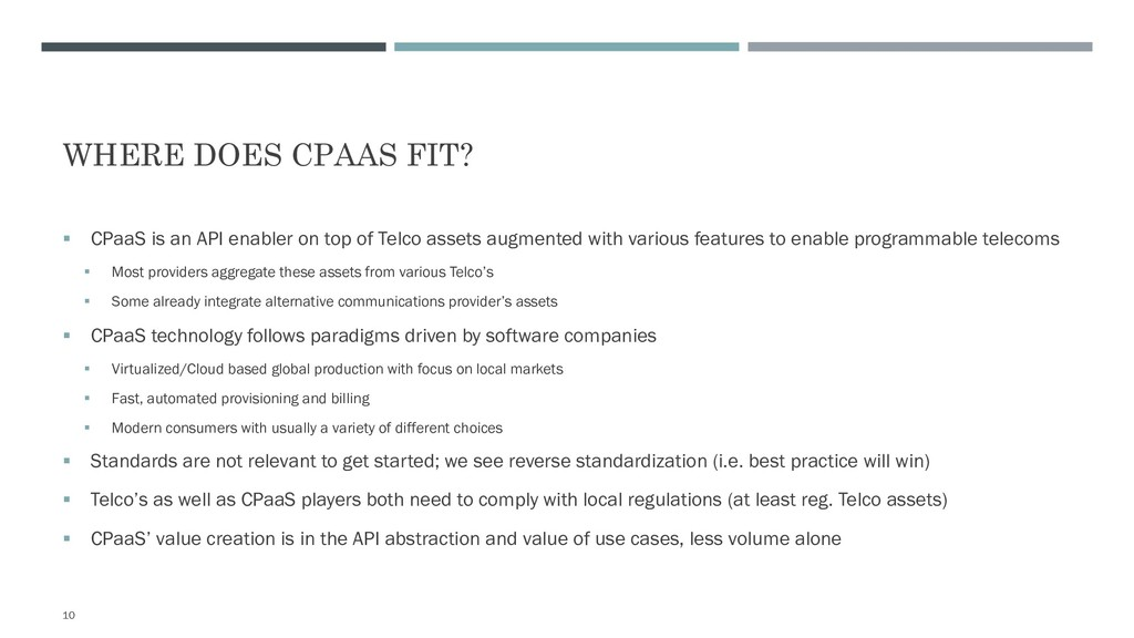 WHERE DOES CPAAS FIT? § CPaaS is an API enabler...