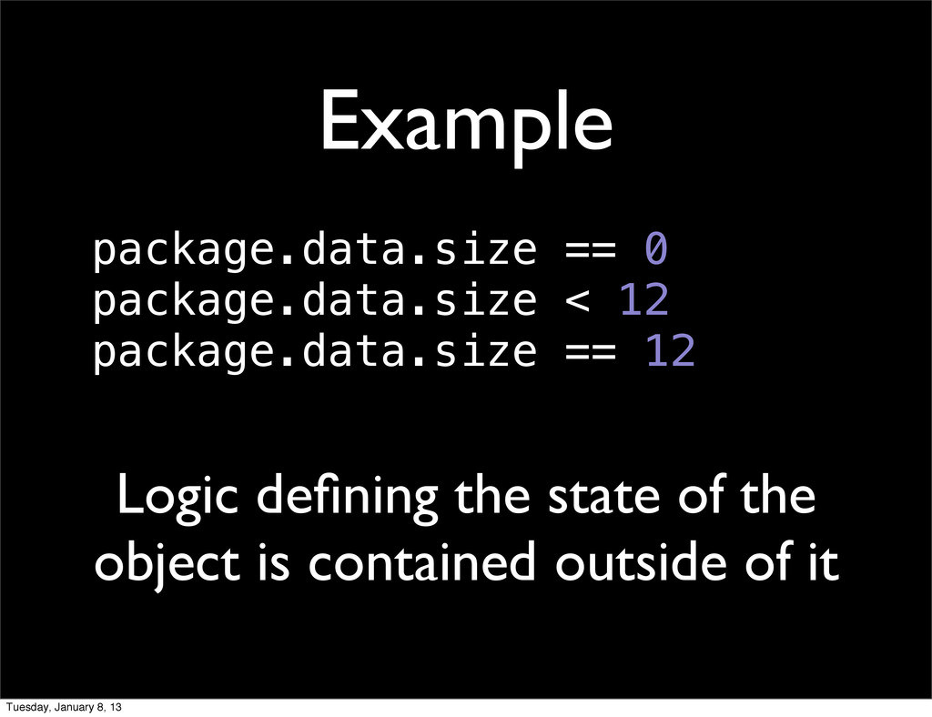 Example Logic defining the state of the object i...