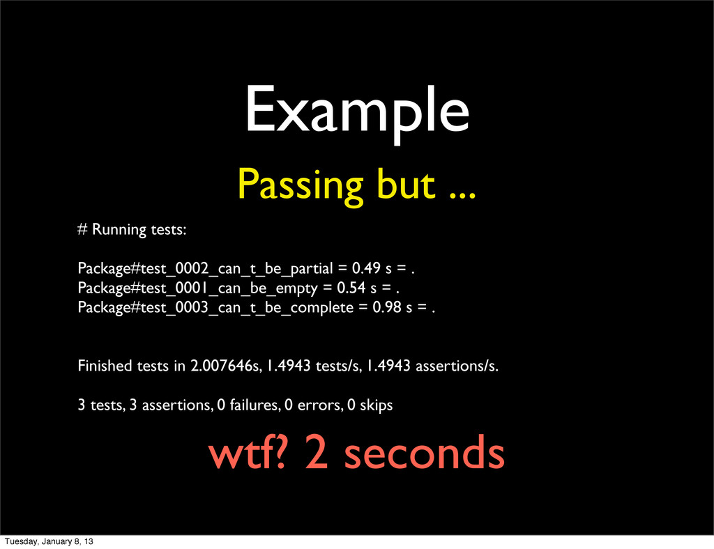 Example Passing but ... # Running tests: Packag...