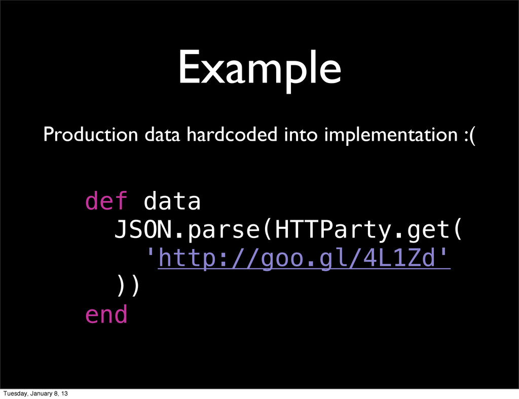 Example Production data hardcoded into implemen...