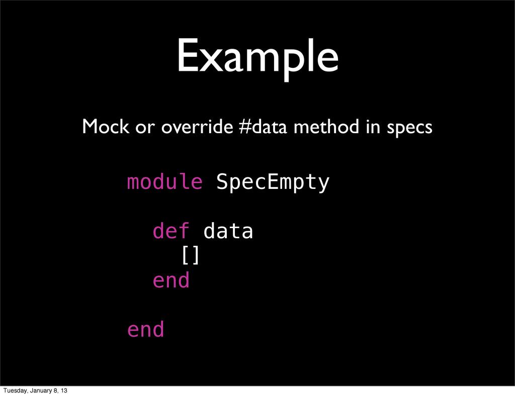 Example Mock or override #data method in specs ...