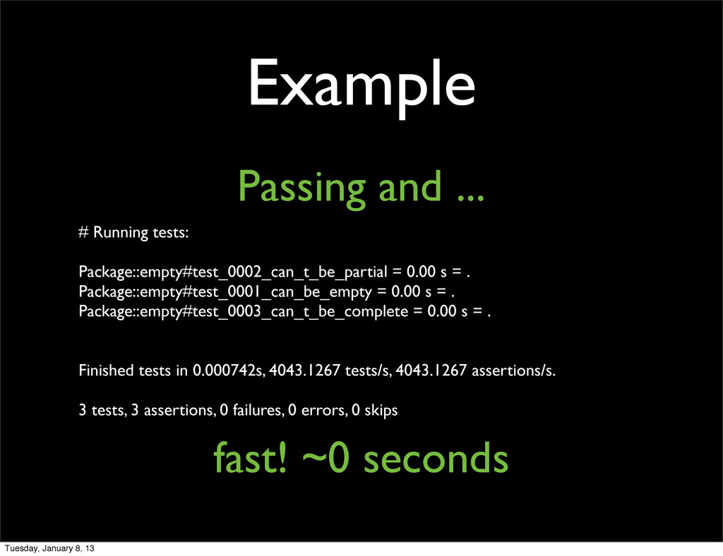 Example Passing and ... # Running tests: Packag...
