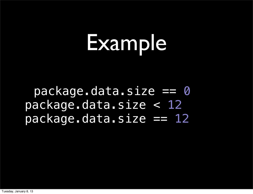 package.data.size == 0 package.data.size < 12 p...