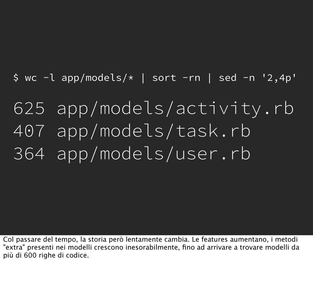 $ wc -l app/models/*   sort -rn   sed -n '2,4p'...