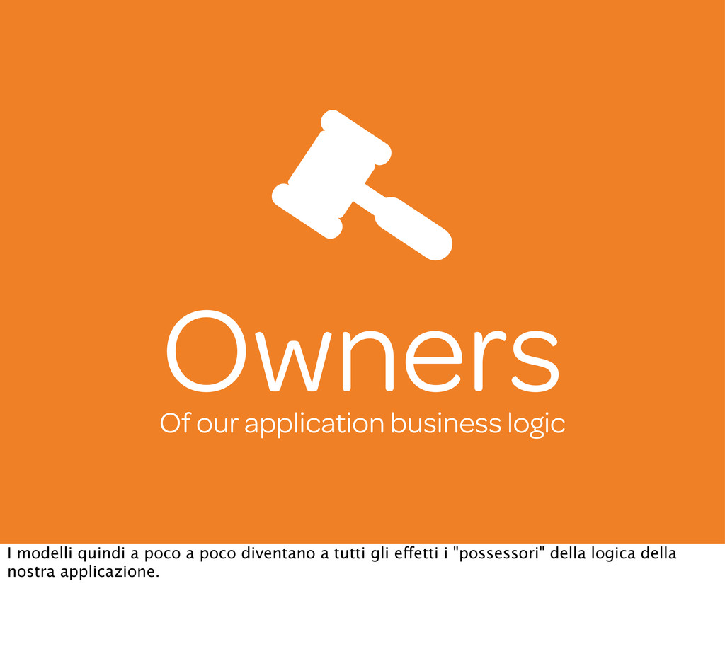 Owners Of our application business logic I mode...