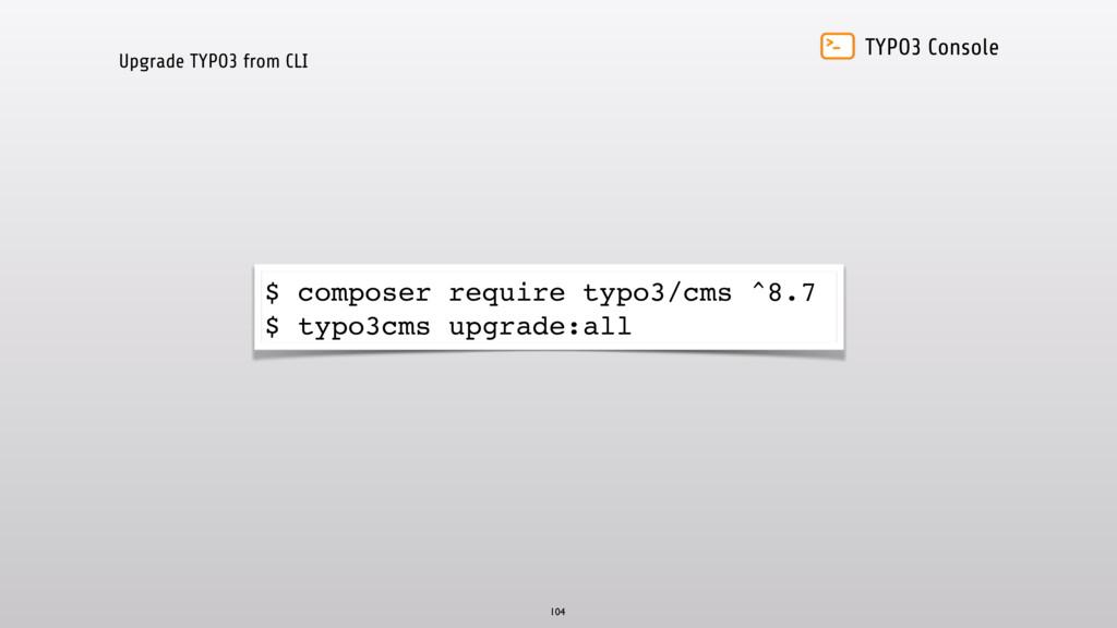 TYPO3 Console Upgrade TYPO3 from CLI 104 $ comp...