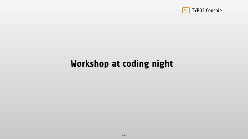 TYPO3 Console Workshop at coding night 114