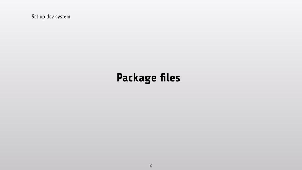 Set up dev system Package files 20